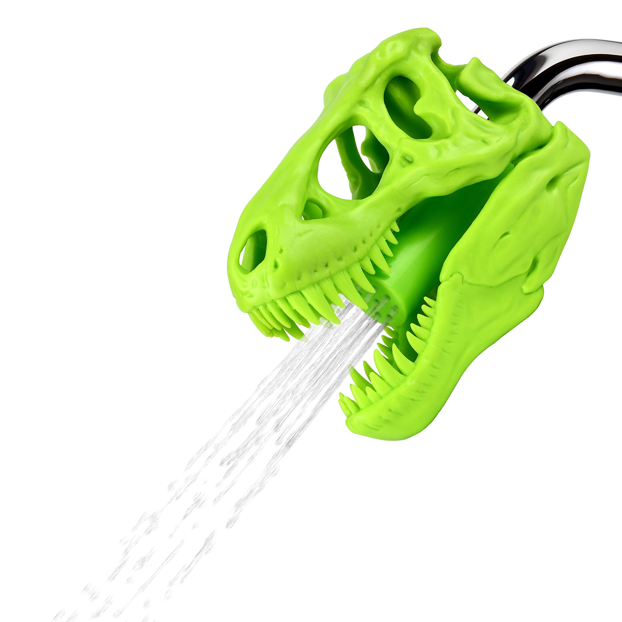 Barbuzzo T-Rex Shower Head, Green - Prehistoric Shower Nozzle Shaped like a Tyrannosaurus Rex Skull - Gives Your Shower-Time a Jurassic Touch - Terrific Gift for Kids & Dino-Enthusiasts - Wash N' Roar by Barbuzzo (Image #1)
