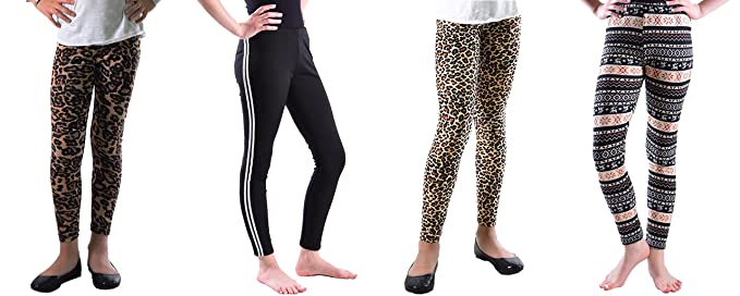 88f57c02fe4e7 5 Pack Deal on These Great Girls Fun Printed Leggings 923-LSBlackWhite-926-