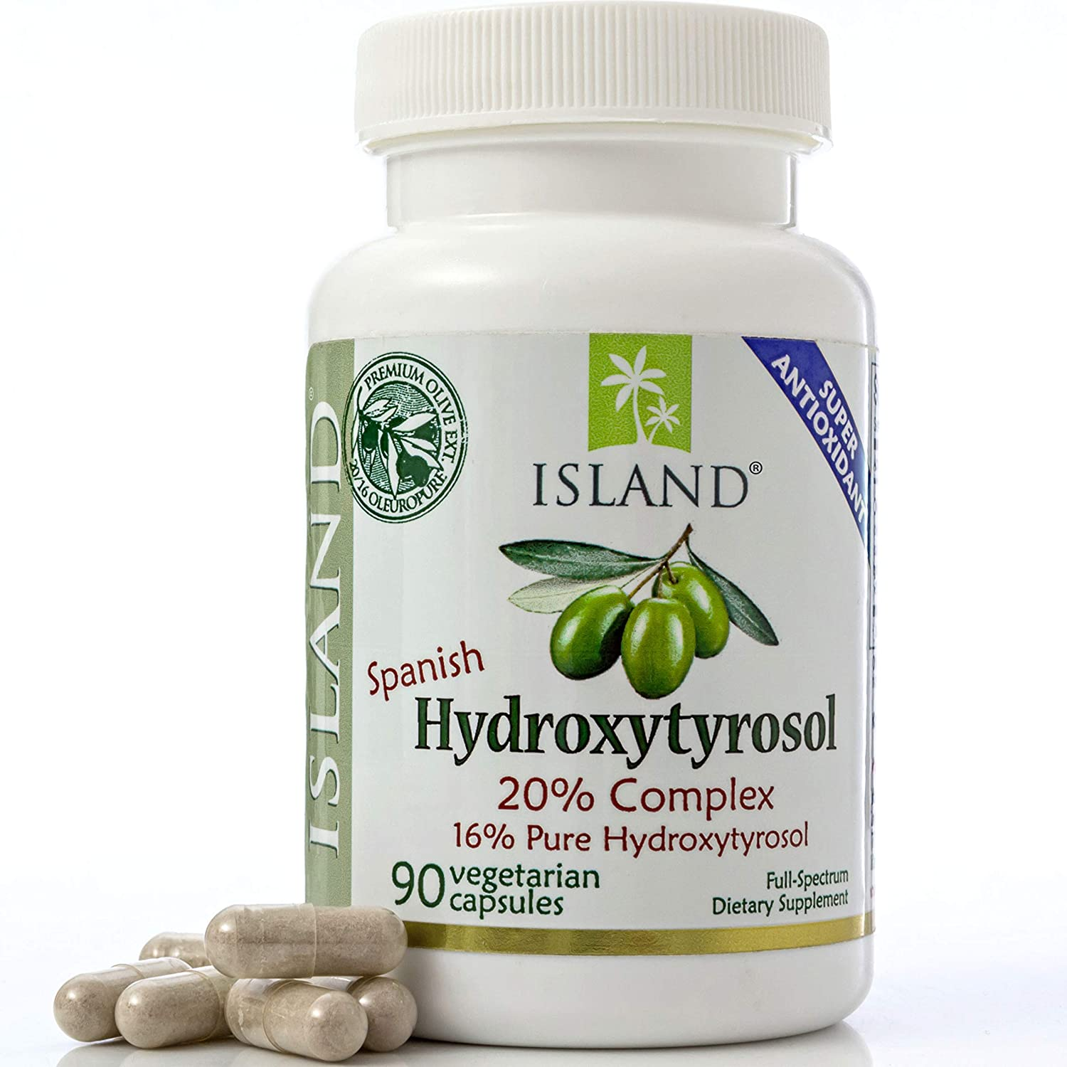 20 Hydroxytyrosol Complex Olive Fruit Extract – Super Strength 100 Grown Extracted in Spain. 100 mg, 90 Capsules. from Island Nutrition, The Maker of Real European Olive Leaf Extract.