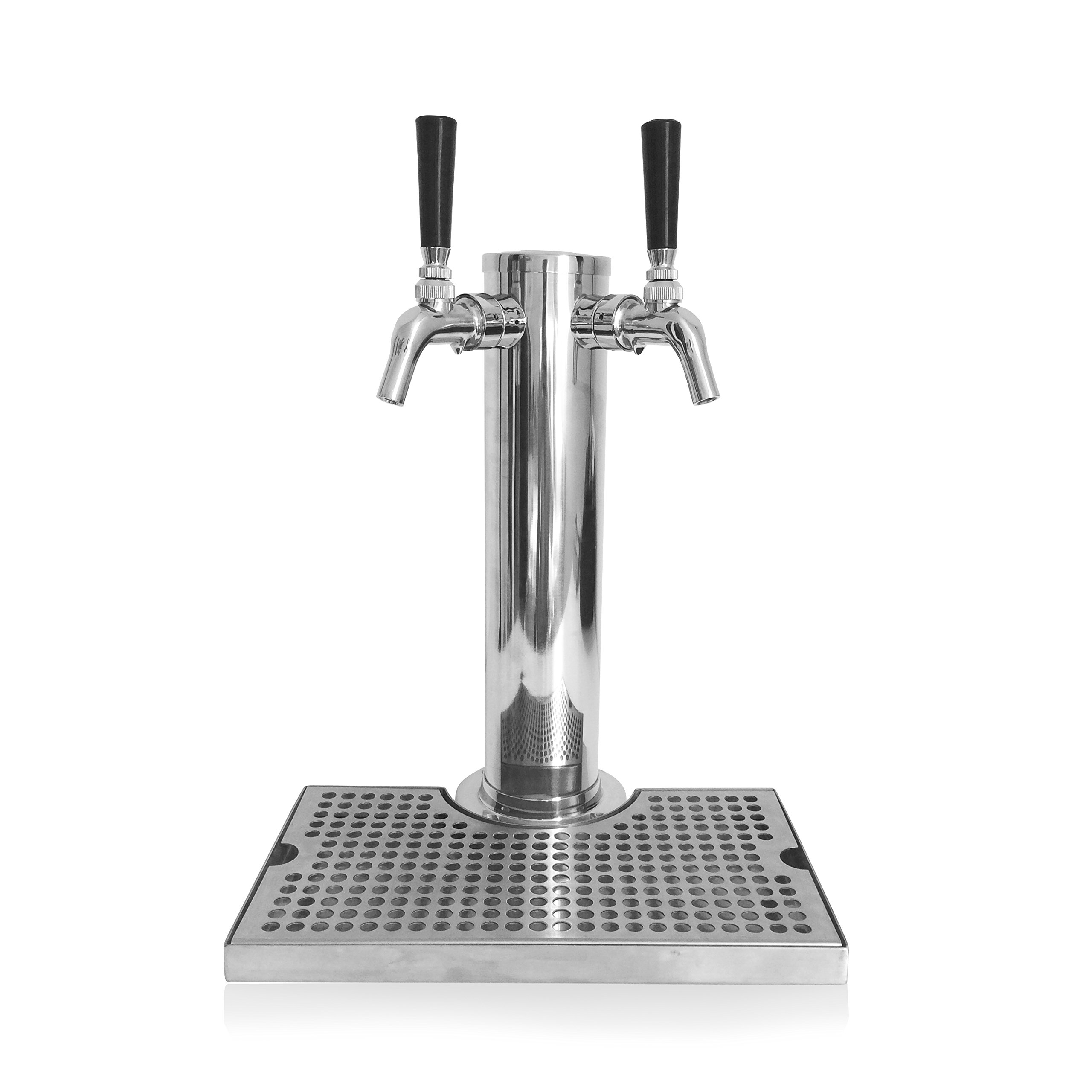Stainless Steel Kegerator Tower Tap: Conversion Kit, Double 2 Perlick Style Faucets, 3'' Diameter - 2 Tap Draft Beer Tower, Double Faucet Beer Dispenser