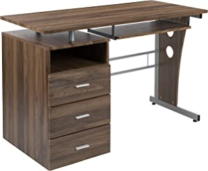 Flash Furniture Rustic Walnut Desk with Three Drawer Pedestal and Pull-Out Keyboard Tray
