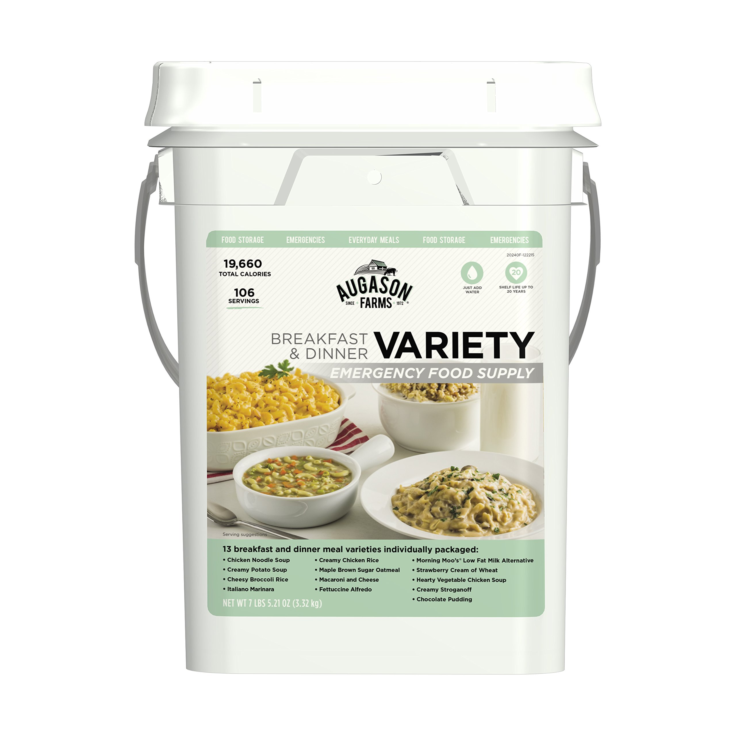 Augason Farms Breakfast & Dinner Variety Emergency Food Supply 7 lbs 5.21 oz 4 Gallon Pail