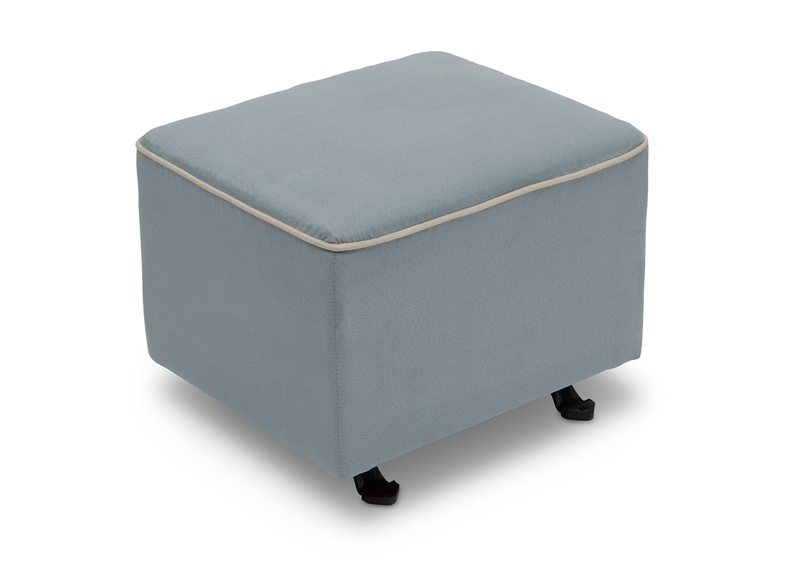 Delta Furniture Gliding Ottoman, Frozen Blue with Cream Welt