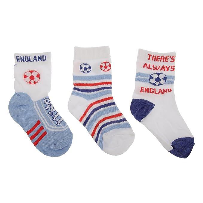 Calcetines estampados de fútbol/Inglaterra para bebé niño (pack de 3) (0