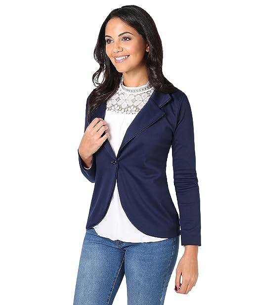 KRISP Chaqueta Mujer Elegante Básica, Azul Marino (3558), 36, 3558-