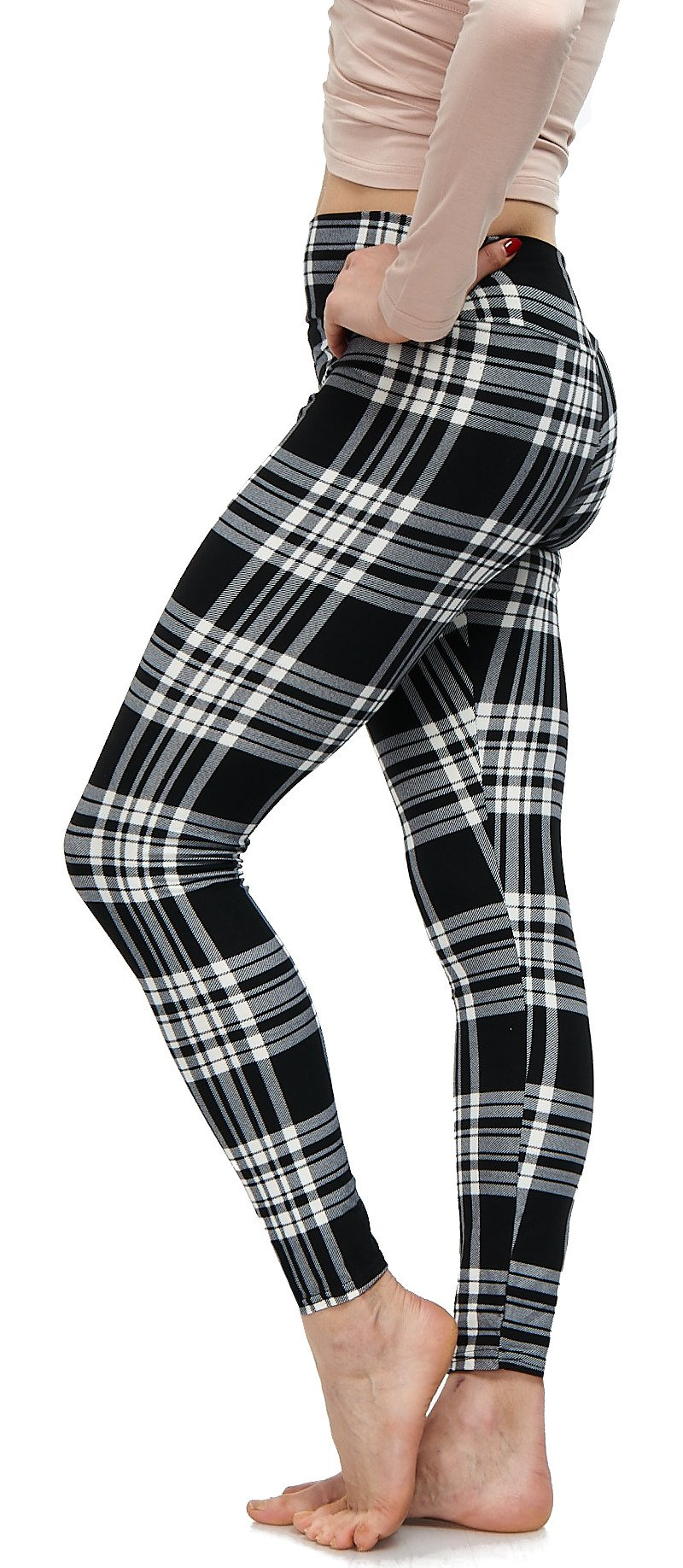 LMB Lush Moda Extra Soft Leggings with Designs- Variety of Prints Yoga Waist - 769YF Black White Plaid B5 by LMB (Image #9)