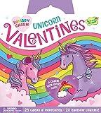Peaceable Kingdom Rainbow Unicorn 28 Card Super Valentine Pack with Real Charm Keepsakes