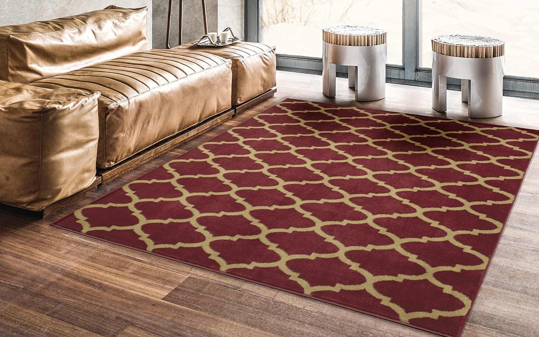 Ottomanson Area Rug 53 X70 Dark Red Home Kitchen Karpet Shaggy Premium 160x230 Turkiye
