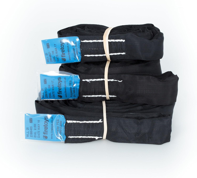 color negro Eslinga Firetoys de poli/éster para elementos suspendidos varios tama/ños de spanset EWL disponibles con l/ímite de carga /útil de 2 toneladas
