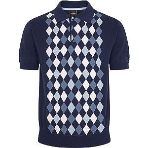 Sage Green Mens Merc London Knitted Stripe Polo Shirt MOD Tanner