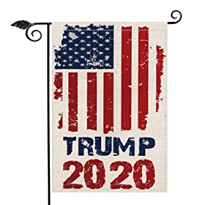 AVOIN 2020 Trump Garden Flag Vertical Double Sided Patriotic Strip and Star, American President Election Burlap Yard Outdoor Decoration 12.5 x 18 Inch