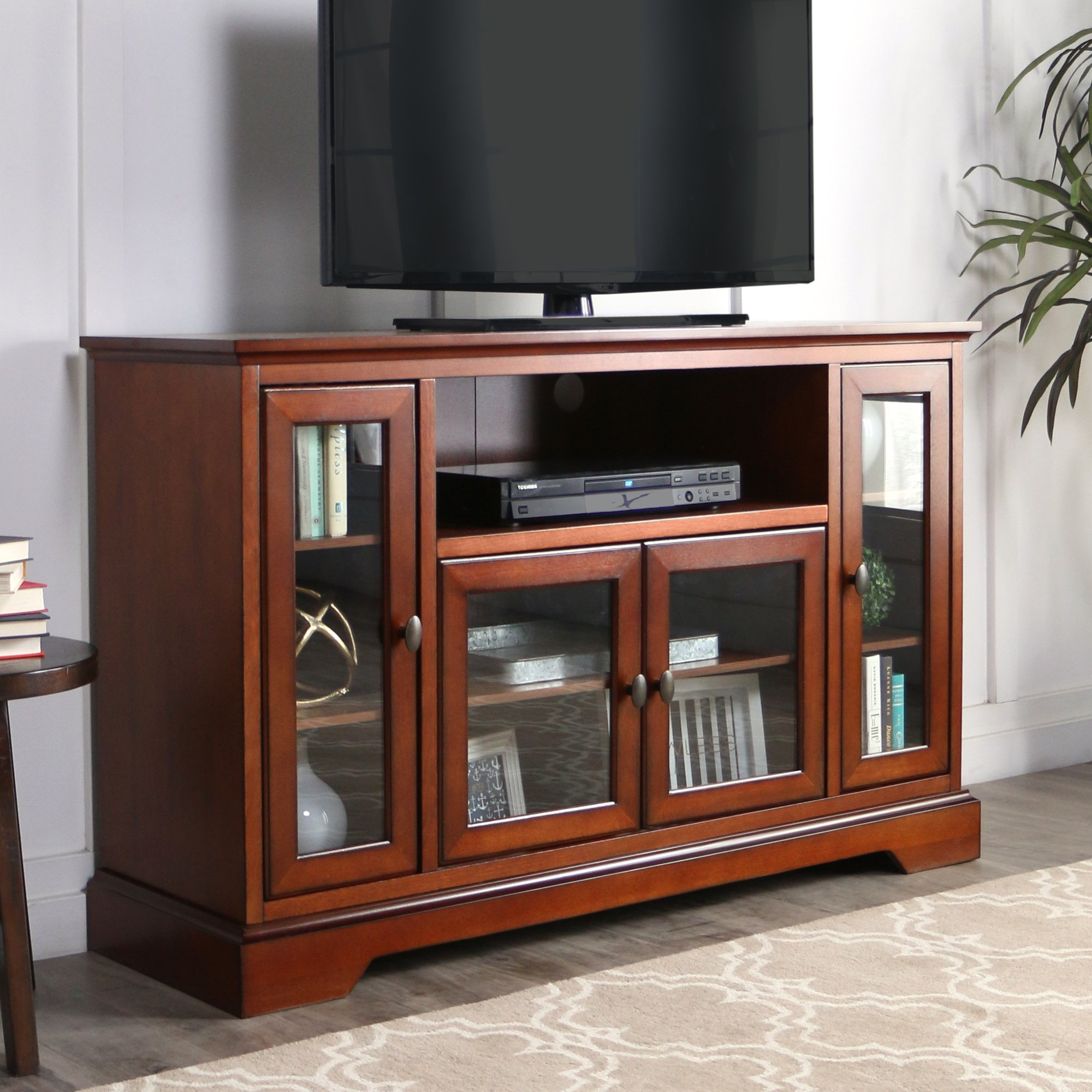 WE Furniture 52'' Wood Highboy Style Tall TV Stand - Rustic Brown by WE Furniture