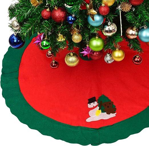 YQing 91.5cm Estera de Falda de árbol de Navidad con muñeco de ...