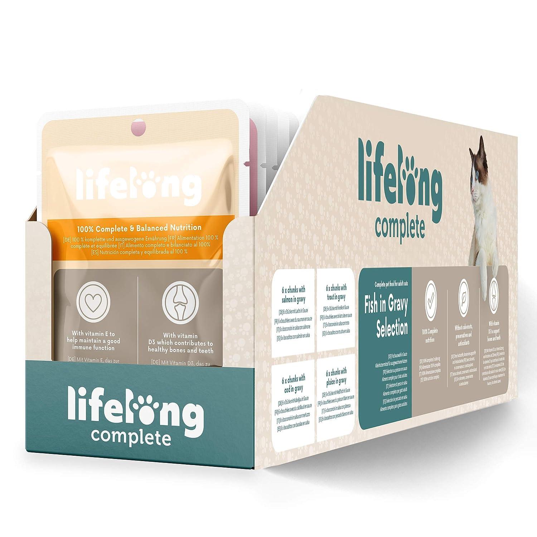 Marca Amazon - Lifelong Alimento completo para gatos adultos - Selección de pescado en salsa, 9,6 kg (96 bolsitas x 100g)