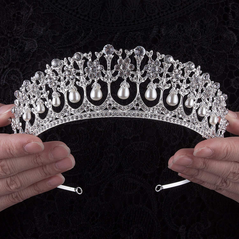 Crownguide Crystal Rhinestone Queen Bride Tiara Crown for Women Girls Headdress Vintage Bridal Birthday Prom Wedding Tiaras and Crowns Hair Jewelry Accessories Silver