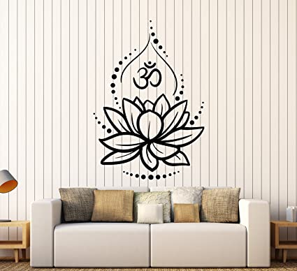 Amazoncom Large Vinyl Wall Decal Lotus Flower Yoga Hinduism Hindu