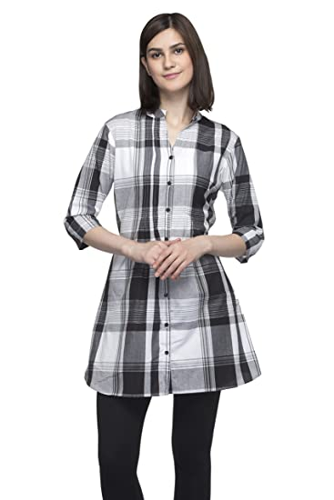 One Femme Women's Plaid Check Print Tunic (OFTNT012_Black 22_XX-Small)