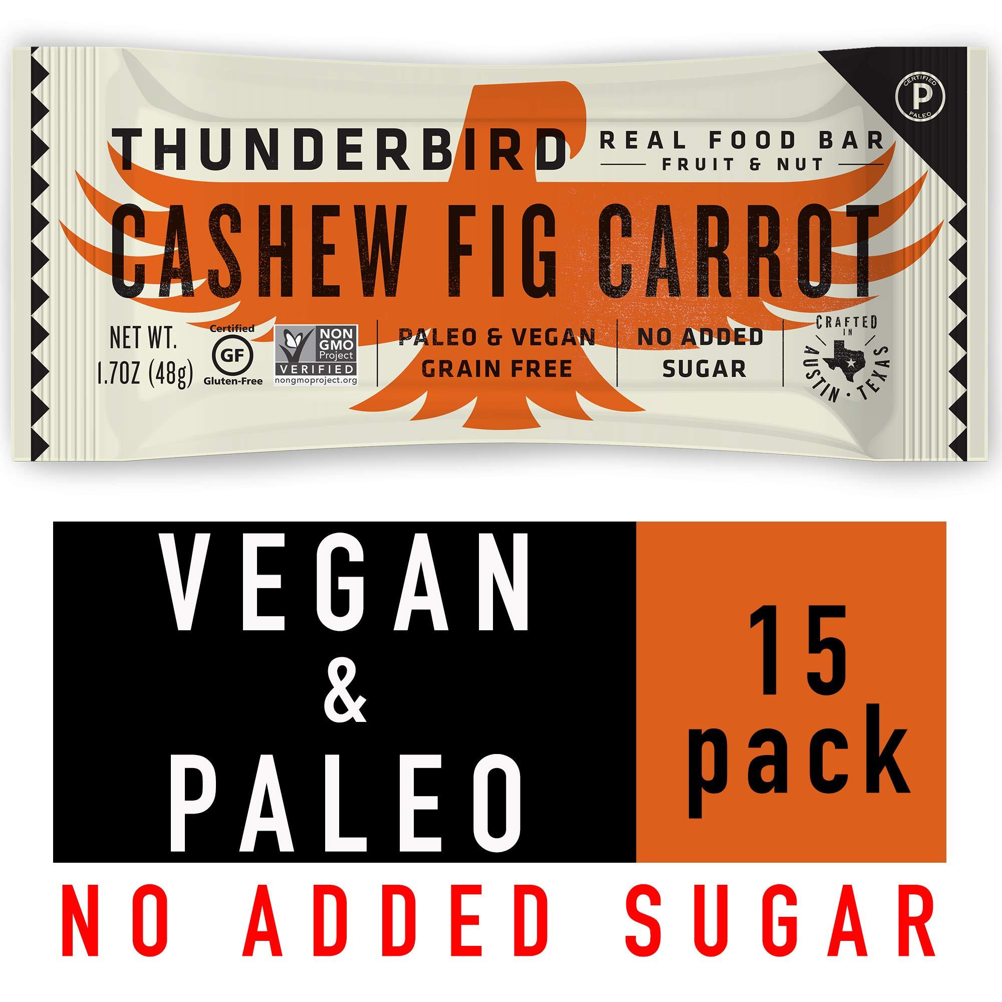 Thunderbird Paleo and Vegan Snacks - Real Food Energy Bars - Cashew Fig Carrot - Box of 15 - No Added Sugar, Grain and Gluten Free, Non-GMO by Thunderbird Real Food Bars
