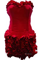 Taffeta Ruffle Party Cocktail Mini Dress Red - Size 8 10 12 14