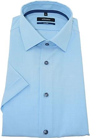 Seidensticker Herren Hemd tailored türkises Hemd halbarm Kent Patch7ohne Tasche  Kollektion Size 44