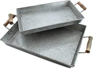 AuldHome Galvanized Farmhouse Trays (Set of 2, Small & Medium); Farmhouse Decor Rectangular Trays with Handles