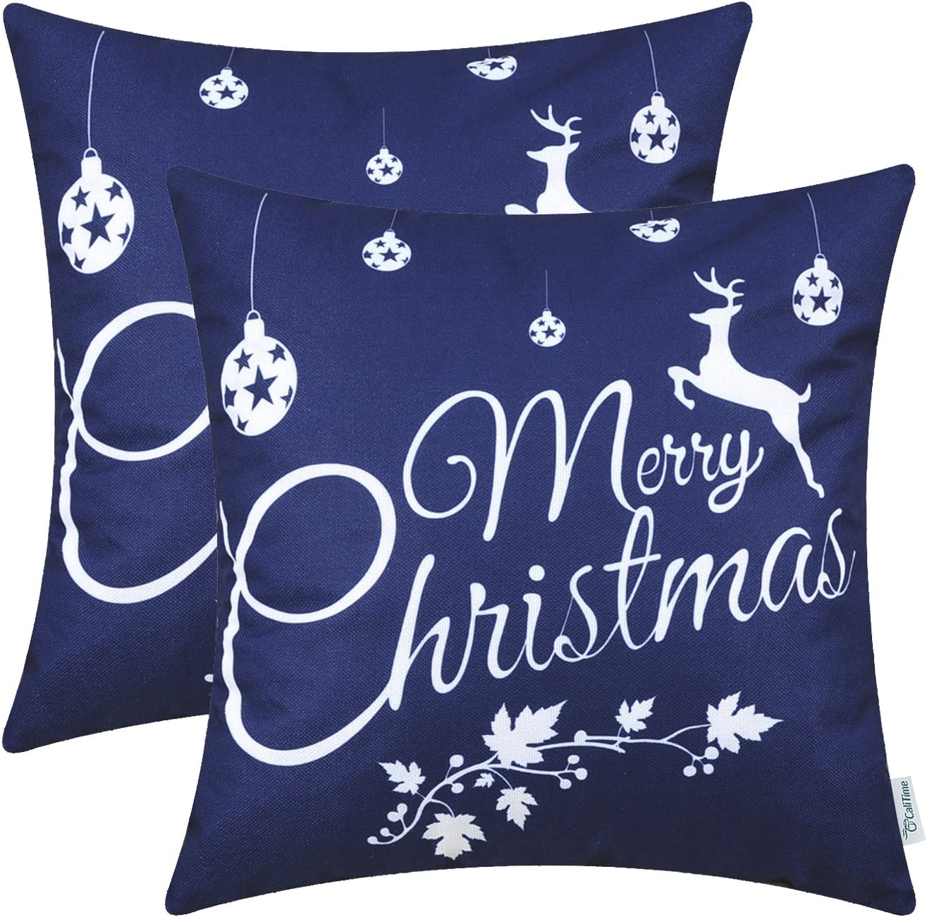 CaliTime Pack of 2 Soft Canvas Throw Pillow Covers Cases for Couch Sofa Home Decoration Merry Christmas White Reindeer 18 X 18 Inches Navy Blue