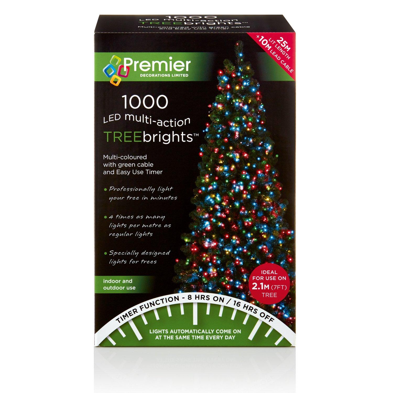 1000 LED Multi-Action Christmas Treebrights Multi-colour Tree Lights Timer 25m Premier