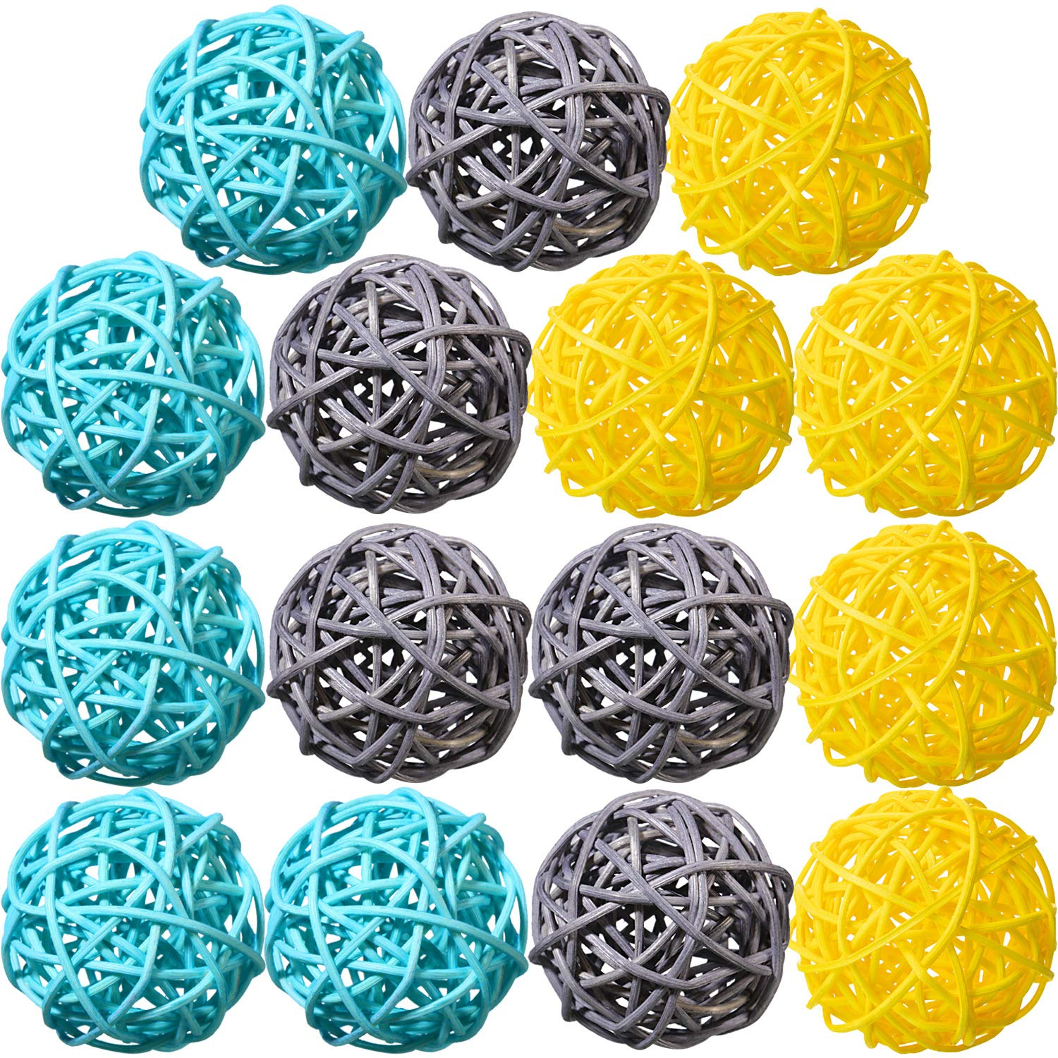 15 Pieces Wicker Rattan Balls Natural Sphere Orbs Decorative Orbs Vase Filler for Table Wedding Party Christmas Baby Shower Valentine's Day Decoration
