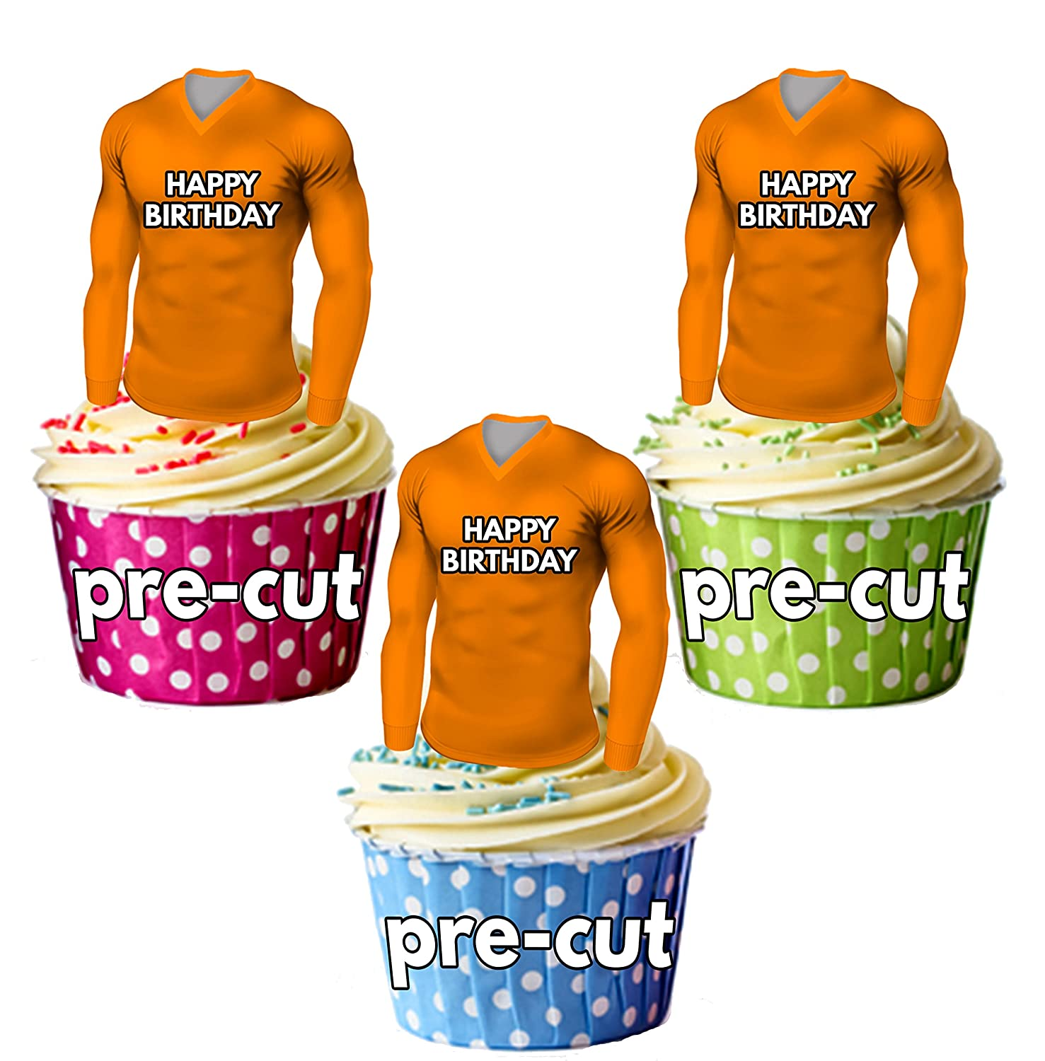 AK Giftshop PRECUT Happy Birthday Football Shirts - Edible Cupcake Toppers/Cake Decorations Dundee United Colours (Pack of 12)