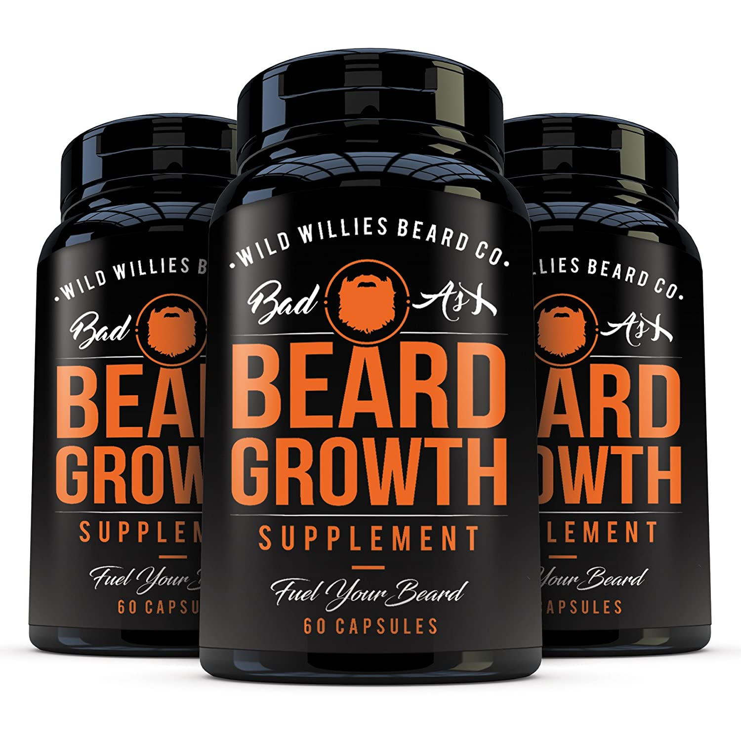 Beard Growth Vitamins for Men by Wild Willies 3Pack - Naturally Faster Hair  Growth - 60