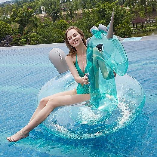 Flotador gigante de unicornio transparente inflable con lentejuelas, flotador grande para piscina al aire libre, juguete de balsa para la playa del río para adultos y niños (unicornio transparente): Amazon.es: Hogar