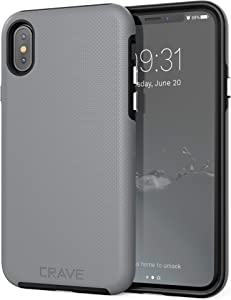 Crave Case for iPhone Xs and iPhone X, Dual Guard Protection Series Cover for Apple iPhone X/XS (5.8 Inch) - Slate Grey