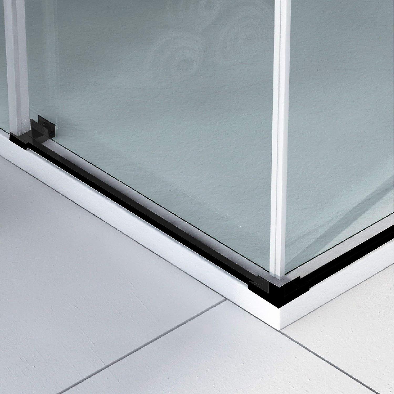 VAROBATH.Mampara de ducha rectangular con cristal transparente 6 mm y perfil acabado en negro. 70 a 90 x 89 a 99