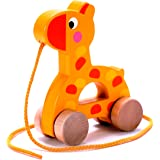 Adorable Giraffe Wooden Pull Along Toy for Baby & Toddler - Rolls Easy, Sturdy String Attached to Animal | Classic Developmental Toy for 1 & 2 Year Old Boys & Girls