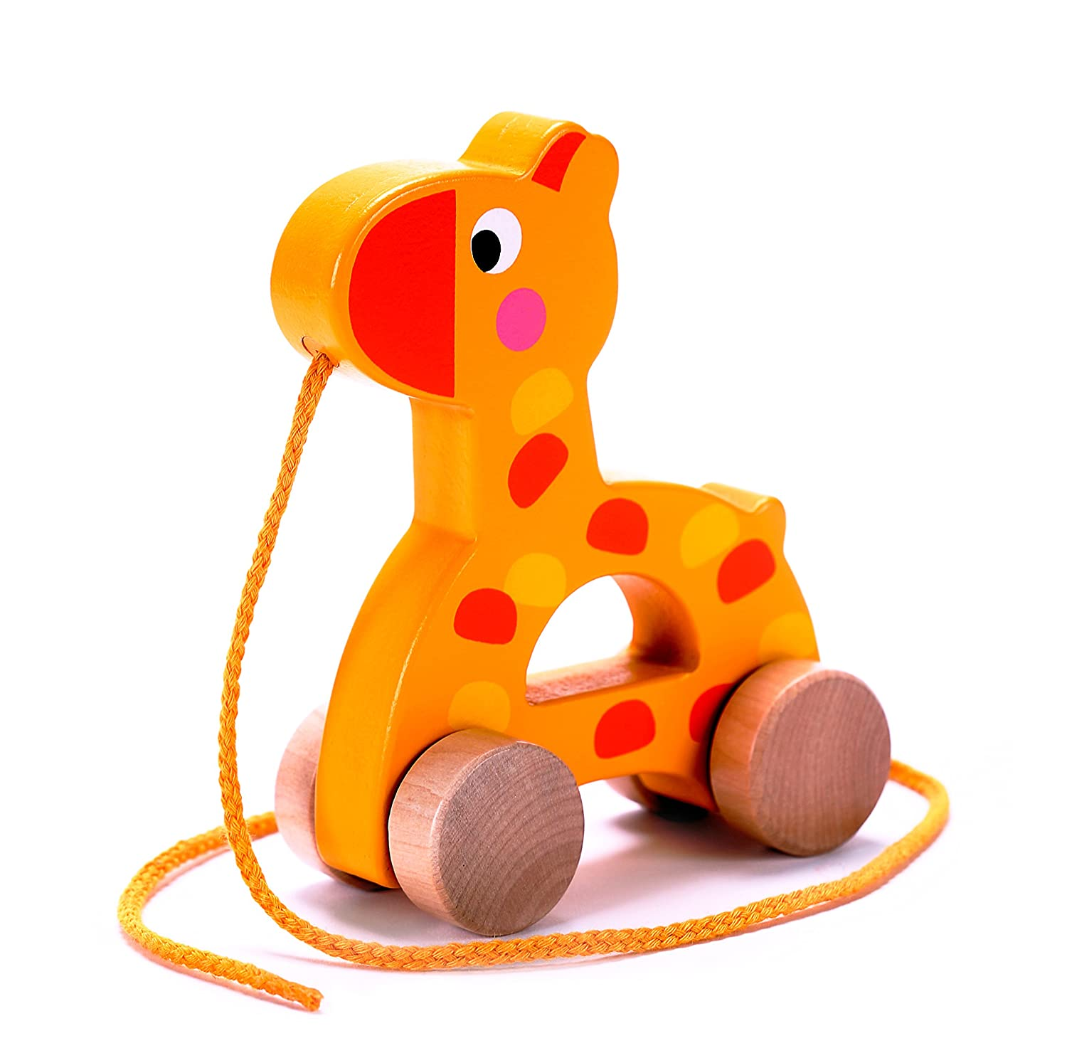 Adorable Giraffe Wooden Pull Along Toy for Baby & Toddler Rolls