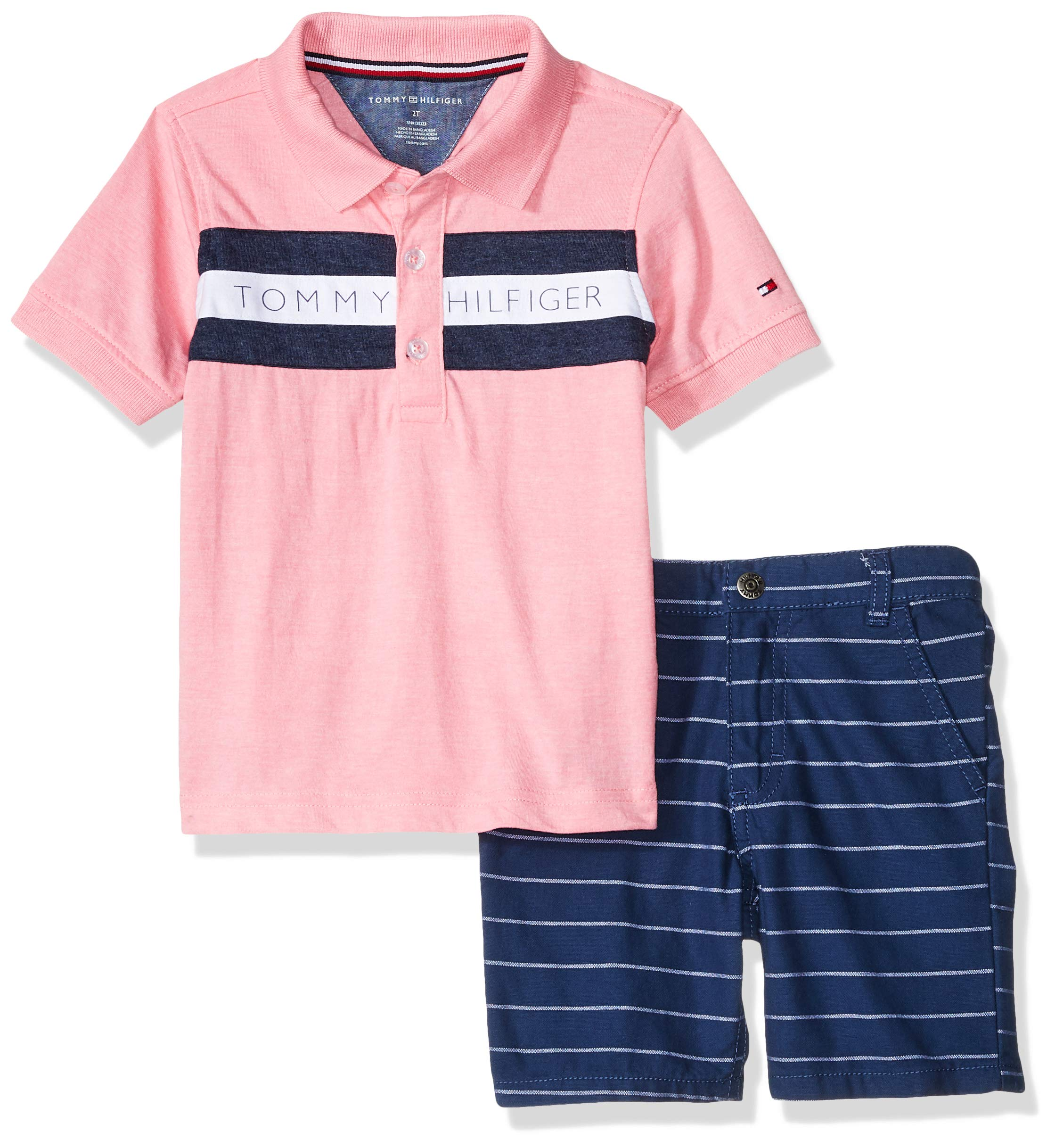 Tommy Hilfiger Boys' Toddler 2 Pieces Polo Shorts Set, Pink/Blue 2T