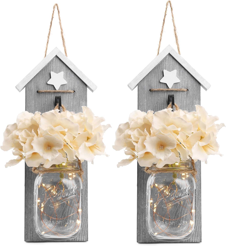 Sconces Wall Art Decor - BeSuerte Hanging Mason Jar Decorfor Home Decor, Office,Farmhouse, Kitchen, Bedroom with Flowers & LED Lights 6-Hour Timer (set of 2), Grey