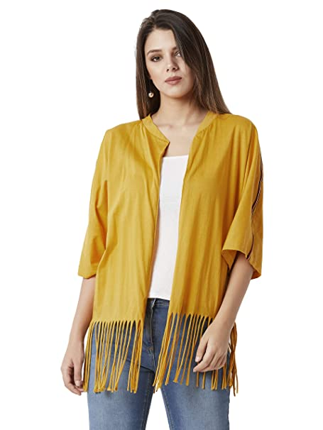 6db506b7f39 Miss Chase Women s Mustard Yellow Cotton Fringe  Shrug(MCAW18JKT02-31-183-02 Mustard. Roll over image to zoom in