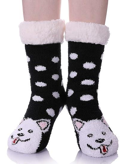 FANZERO Womens Fuzzy Slipper Socks Cute Animal Soft Warm Fleece Lined Non  Slip Winter Socks Christmas 97a78f66a