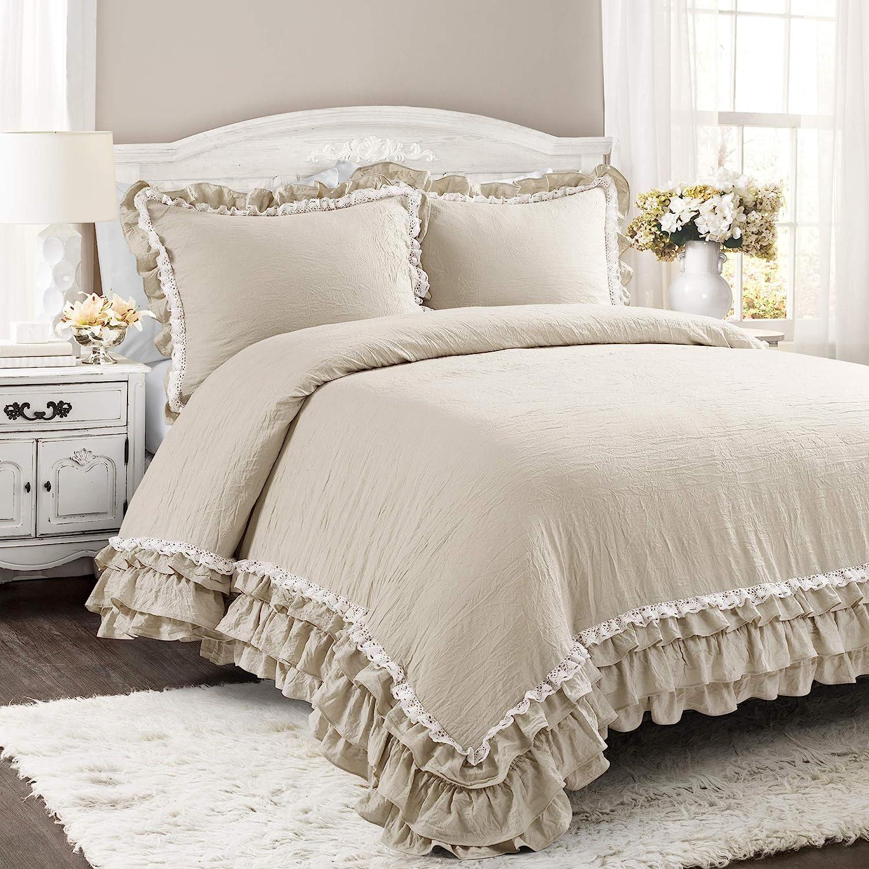 Lush Decor, Neutral Ella Shabby Chic Ruffle Lace 3 Piece Comforter Set, King