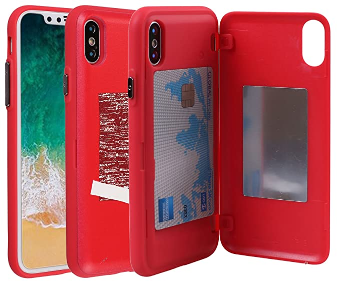 new product e8b50 01a8c iPhone X Case, Credit Card Holder ID Slot Mirror Card Case [iPhone X Card  Wallet Case] with Mirror For Apple iPhone X/iPhone 10 (Red)