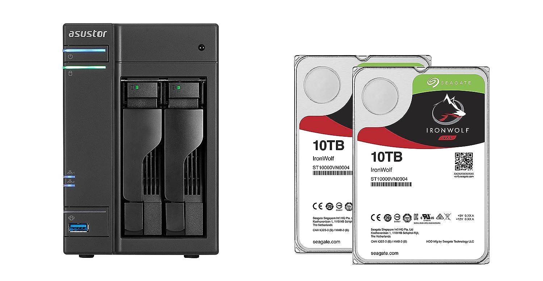 Set bestehend aus zwei Seagate Ironwolf 10 TB NAS optimierten Festplatten mit IHM Technik & Asustor NAS AS6302T