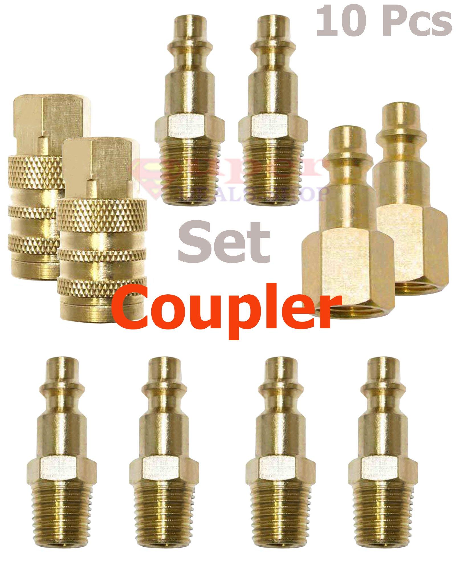10 Pcs Brass Industrial Coupler & Plug Kit Adapter/Connector Set Quick Connect/Disconnect W-series Coupling Air Hose Fittings Compressor 1/4 NPT Male/Female Super-Deals-Shop