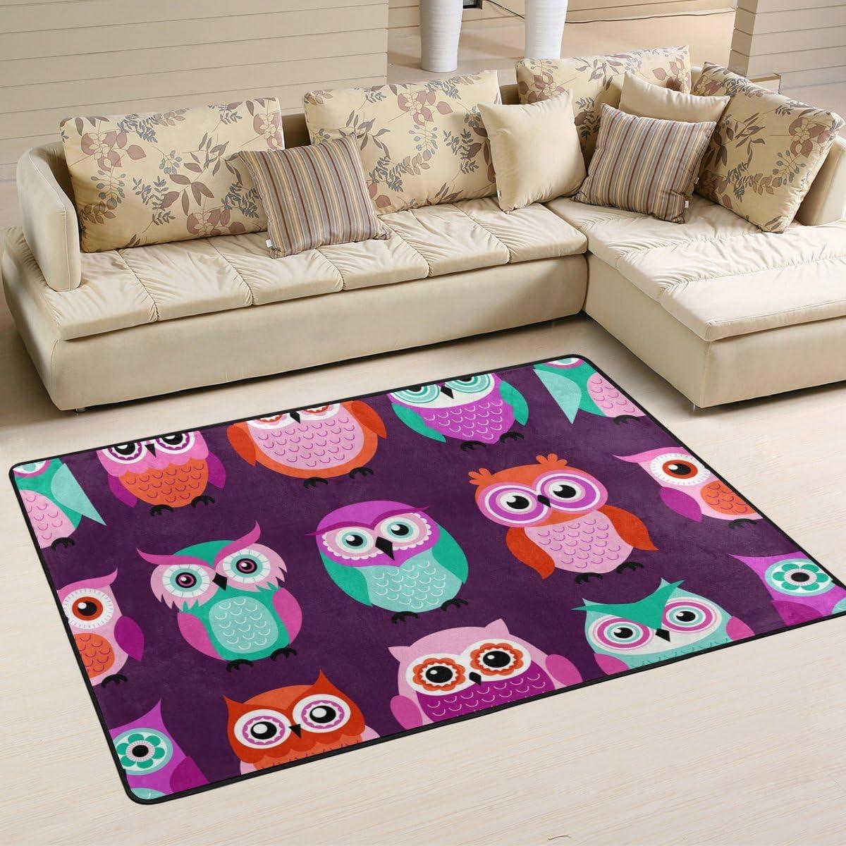 LORVIES Owls Birds Purple Pattern Area Rug Carpet Non-Slip Floor Mat Doormat