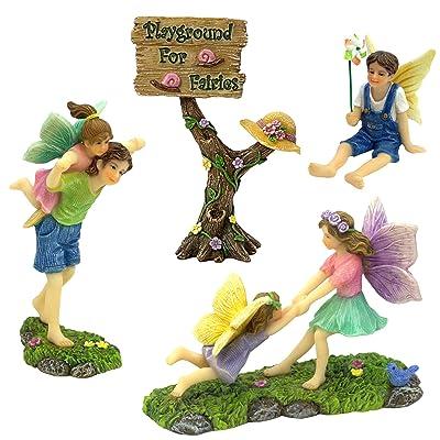 PRETMANNS Fairy Garden Accessories Kit – A Joyful Fairy Playground Set with Girl Fairies and Boy Fairies and a Cute Fairy Garden Sign – Fairy Garden Supplies 4 Pieces: Garden & Outdoor