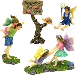 PRETMANNS Fairy Garden Fairies Accessories – A Joyful Fairy Playground Set with Girl Fairies and Boy Fairies and a Cute Fairy Garden Sign – Fairy Garden Supplies 4 Pieces