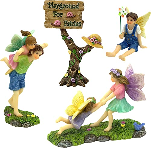PRETMANNS Fairy Garden Accessories Kit A Joyful Fairy Playground Set with Girl Fairies and Boy Fairies and a Cute Fairy Garden Sign Fairy Garden Supplies 4 Pieces