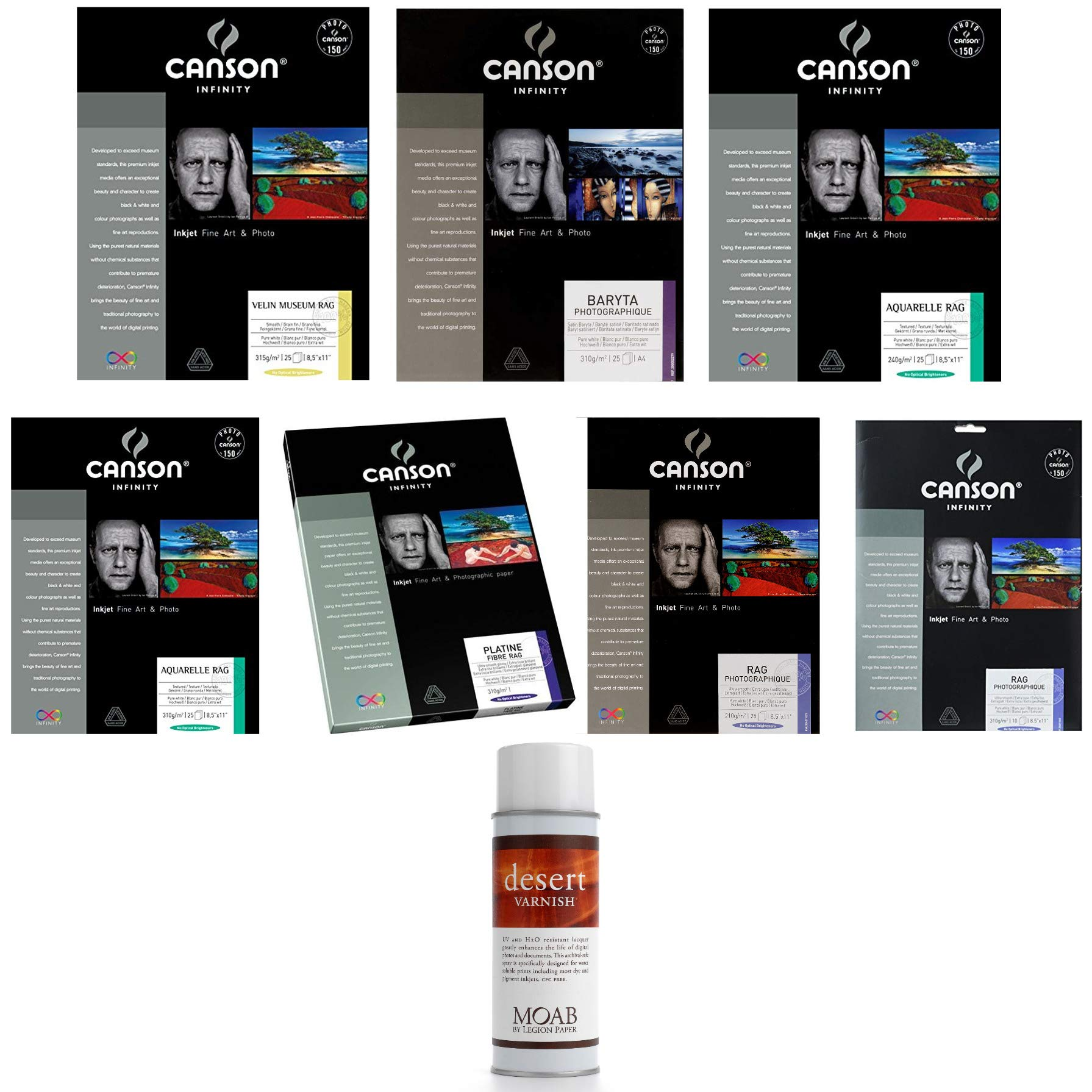 Canson Infinity 8.5 x 11 Inch Paper Collection (7 Varieties) with Varnish Spray