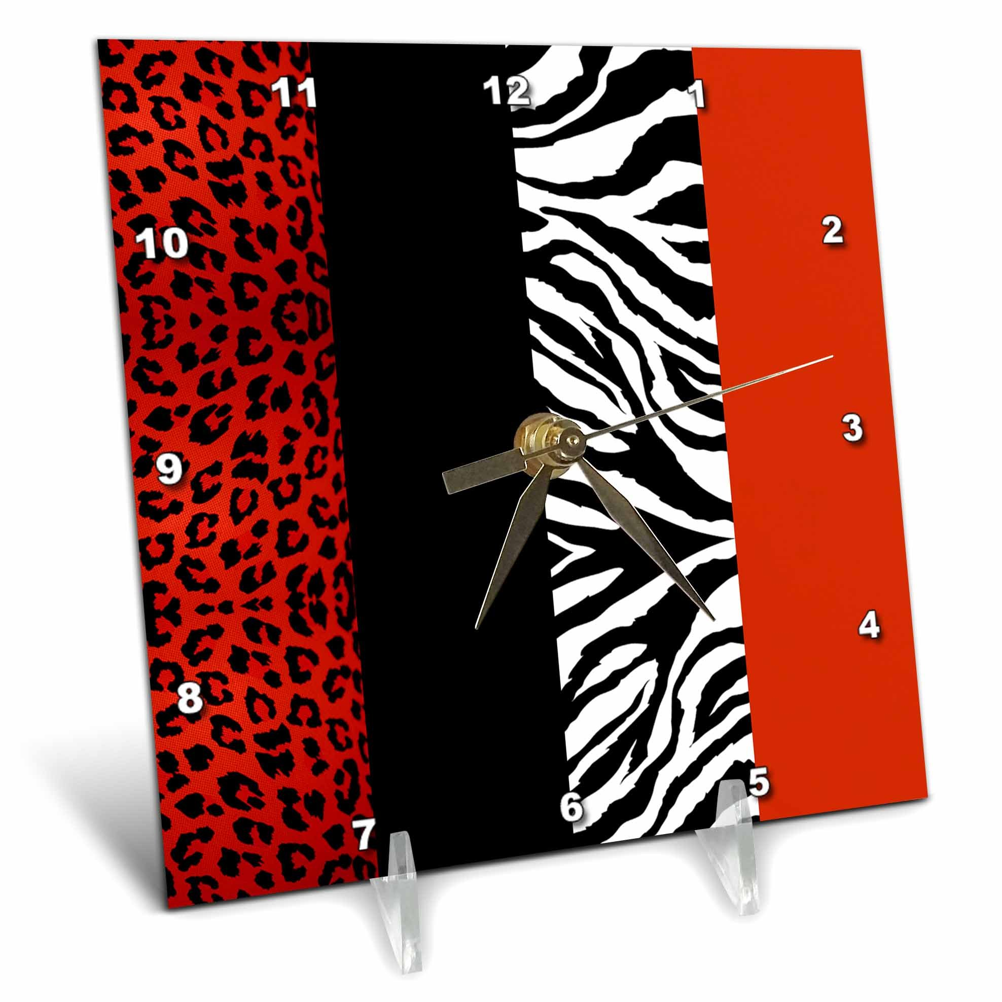 3dRose dc_35438_1 Red, Black, Orange and White Animal Print-Leopard and Zebra-Desk Clock, 6 by 6-Inch