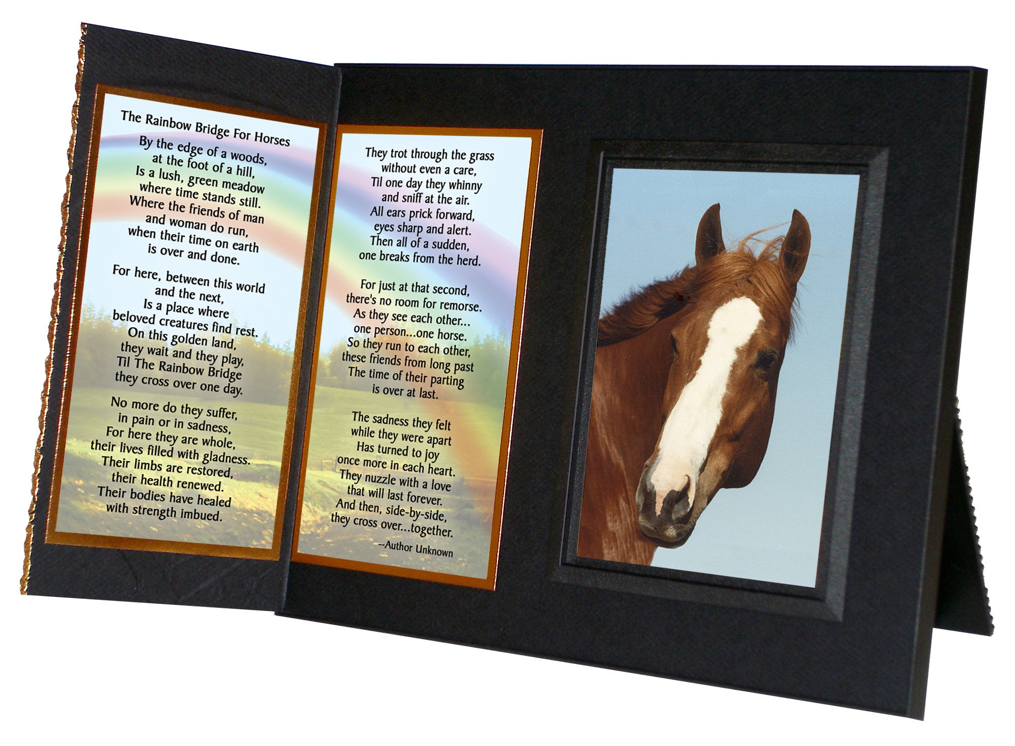 ''Rainbow Bridge for Horses'' Sympathy Picture Frame Gift and Memorial , with optional custom photo editing, Black with Foil Accent